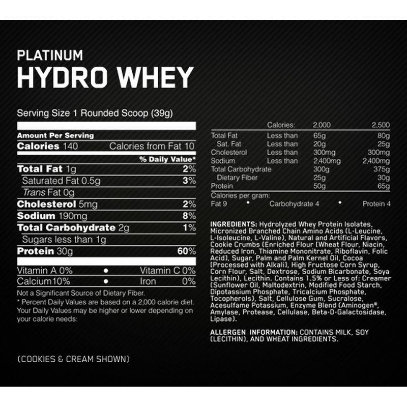 hydro whey tabla nutricional