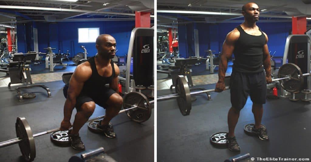 ejercicio para pierna sentadilla hacka con barra