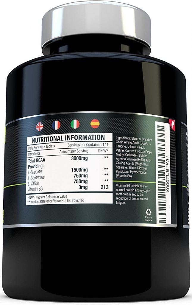 tabla de ingredientes xellerate Nutrition Bcaa